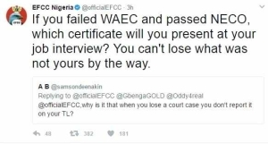 EFCC Epic Reply To A Twitter User Who Asked